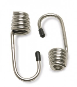CargoBuckle coated stretch cord hooks in stainless steel are featured.